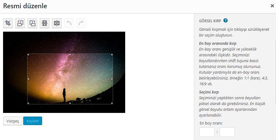 WordPress resimlerini kesme işlemi
