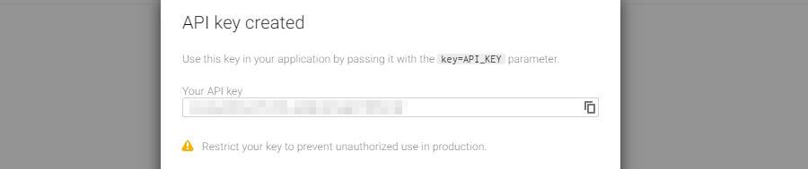 Google API anahtarı örneği