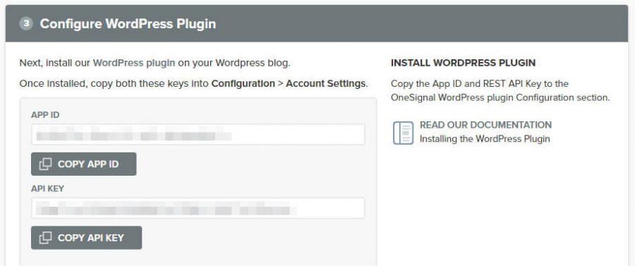 Onesignal App ID ve API anahtarı