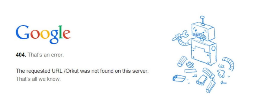 Chrome 404 Hatası görünümü