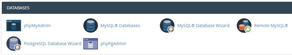 cPanel veritabanları bölümü