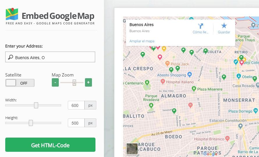 Embed Google Maps anasayfası