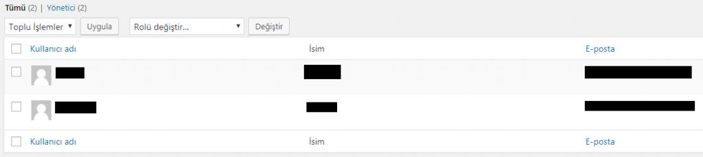 Kullanıcı adlarından birisini değiştirme