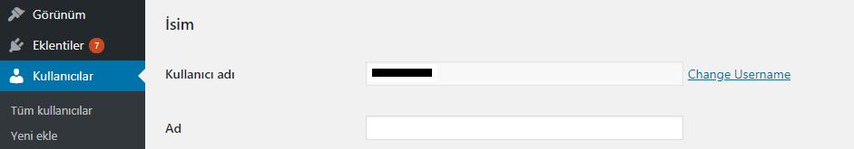 Kullanıcı adı değiştirme