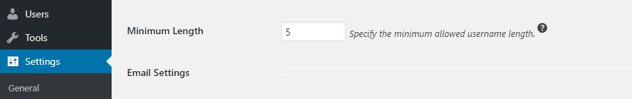 Kullanıcı adı için minimum uzunluk