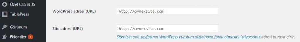 WordPress Site URL'si değiştirme