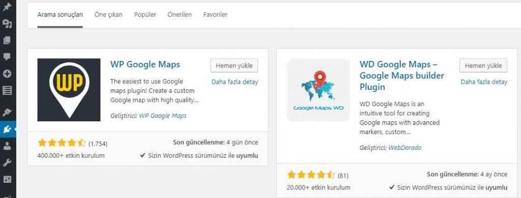 WP Google Maps Eklentisi Kurulumu