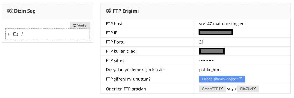 FTP hesap bilgilerini bulma