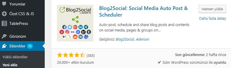 blog2social eklentisi kurulumu