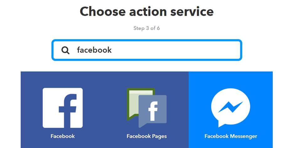 Facebook hizmetini bulma