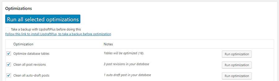 hangi veritabanı optimizasyon işlemlerinin çalışacağını belirleme