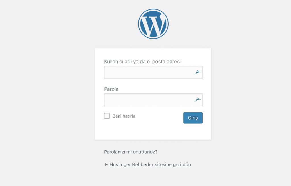 WordPress giriş ekranı görünümü