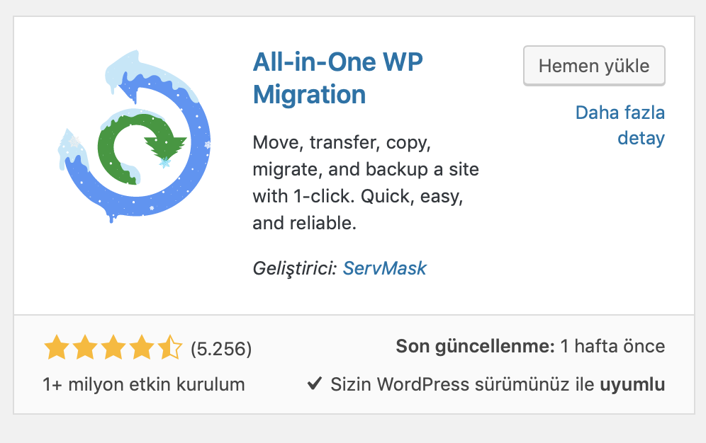 WordPress All In One WP Migration eklentisi