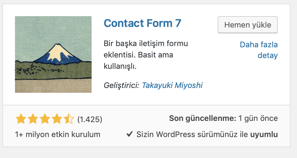 WordPress Contact Form 7 eklentisi