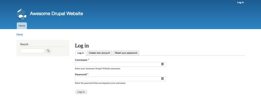 Drupal yönetici bölümü giriş sayfası