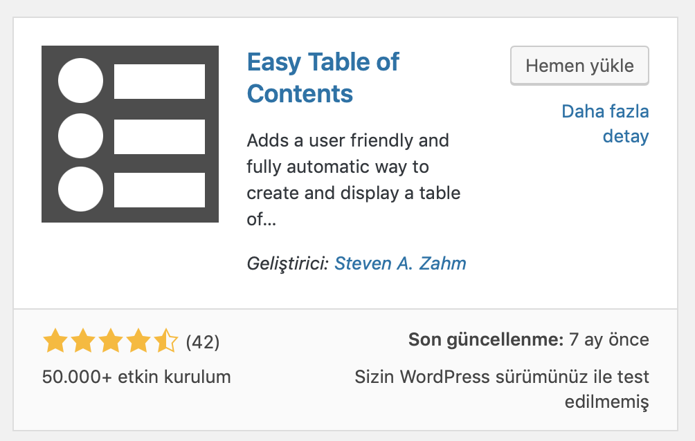 WordPress Easy Table of Contents eklentisi