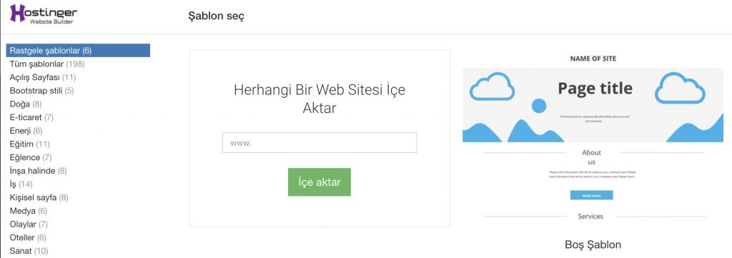 Web sitesi kurma aracı taslak örnekleri