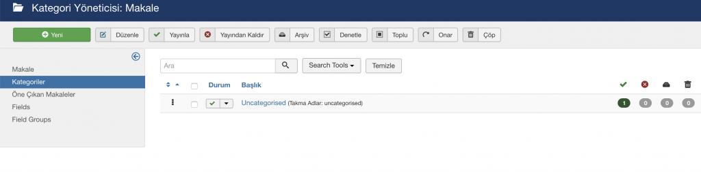 Joomla kategoriler yöneticisi görünümü