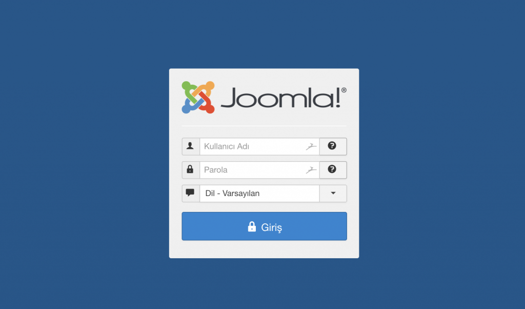 Joomla yönetici paneli giriş sayfası