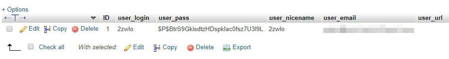 veritabanı içerisinde kullanıcı bilgileri