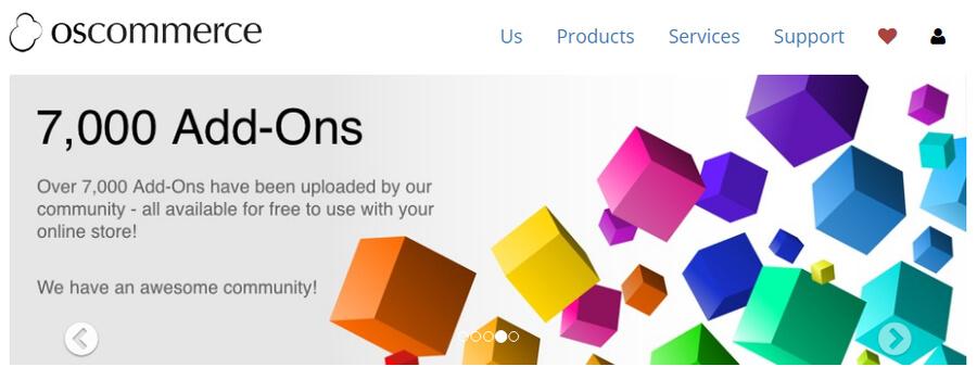 osCommerce anasayfası