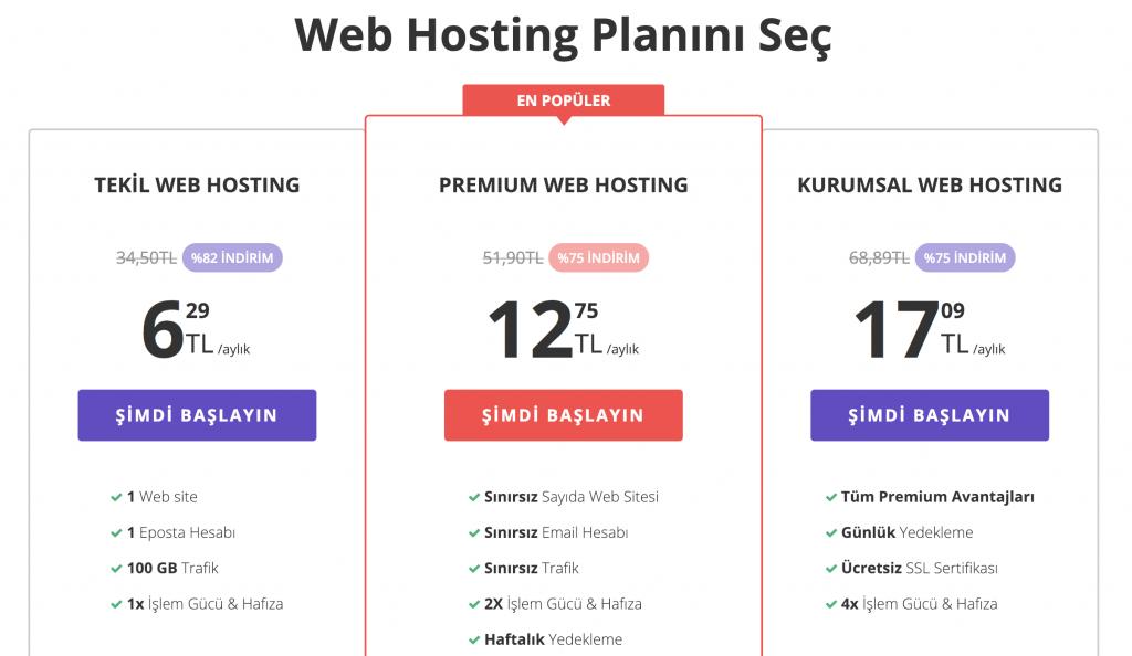 Hostinger paylaşımlı hosting planlarımız