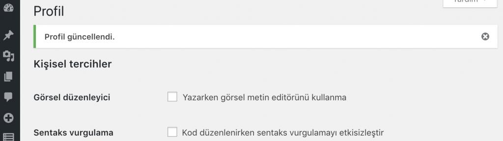 WordPress şifre güncellendi mesajı