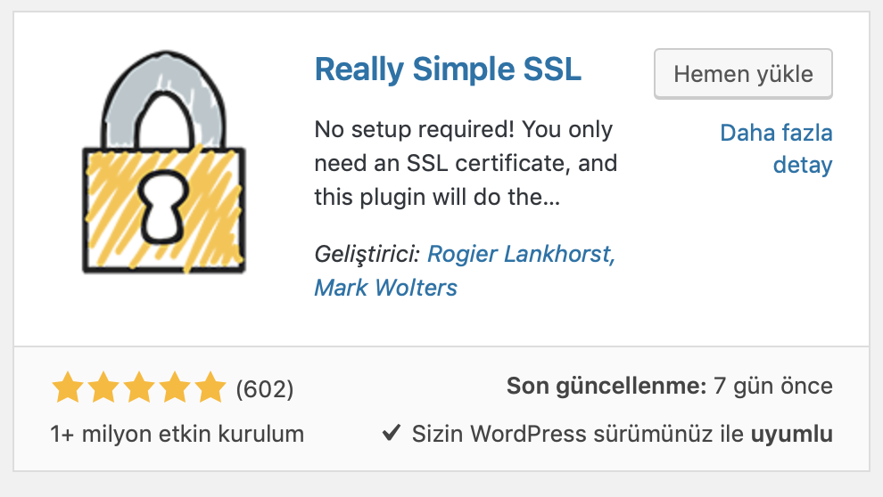 WordPress Really Simple SSL eklentisi