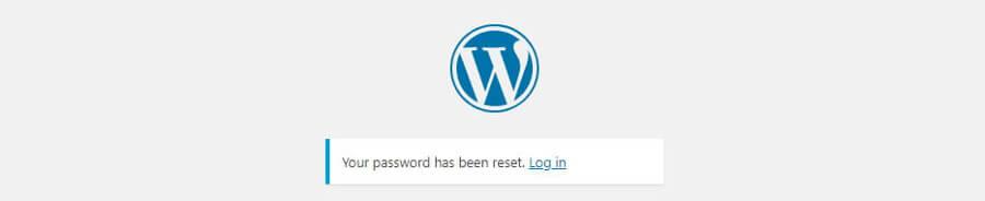 WordPress şifre başarıyla değiştirildi mesajı