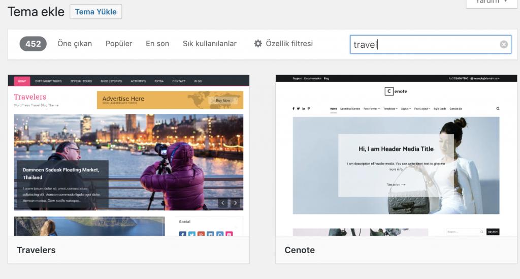 WordPress seyahat teması örnekleri