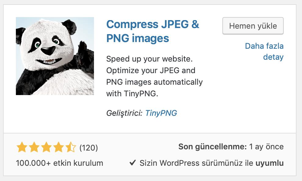 WordPress TinyPNG eklentisi