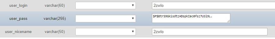 Veritabanında user_pass sırası görünümü