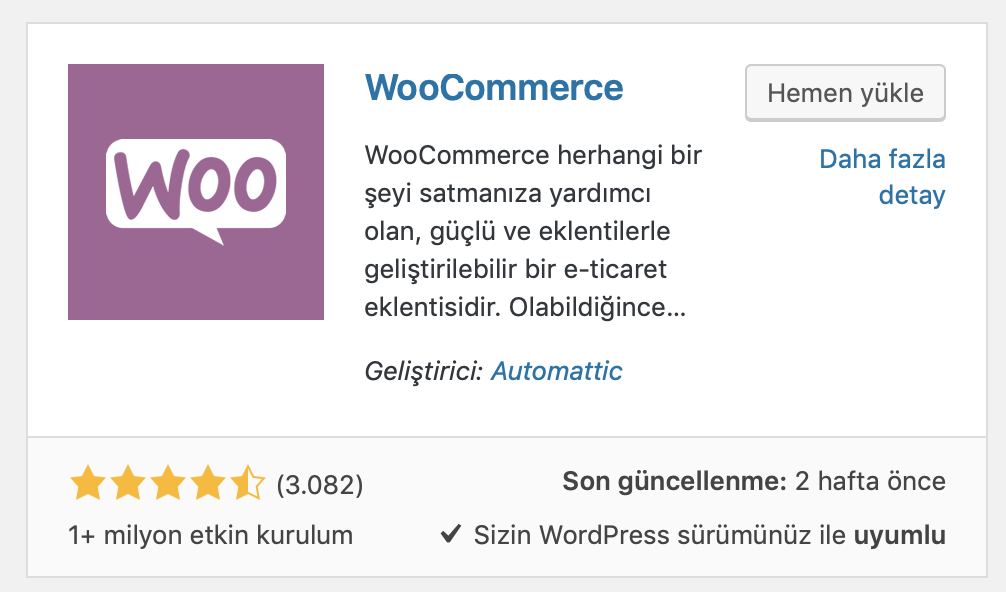 WordPress WooCommerce eklentisi
