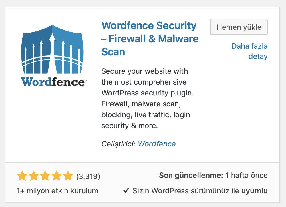 WordPress WordFence eklentisi