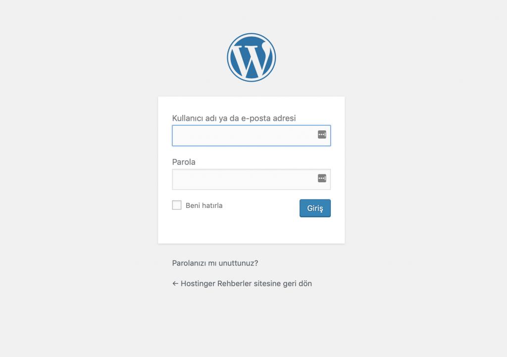 WordPress yönetici paneli giriş sayfası