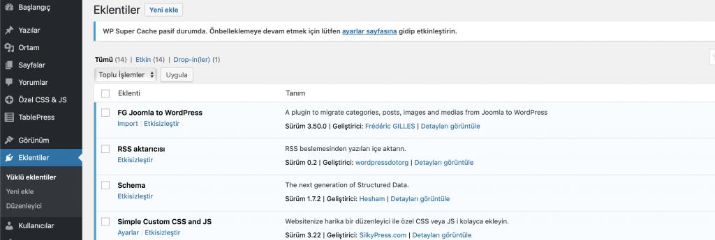 WordPress eklentiler bölümü görünümü
