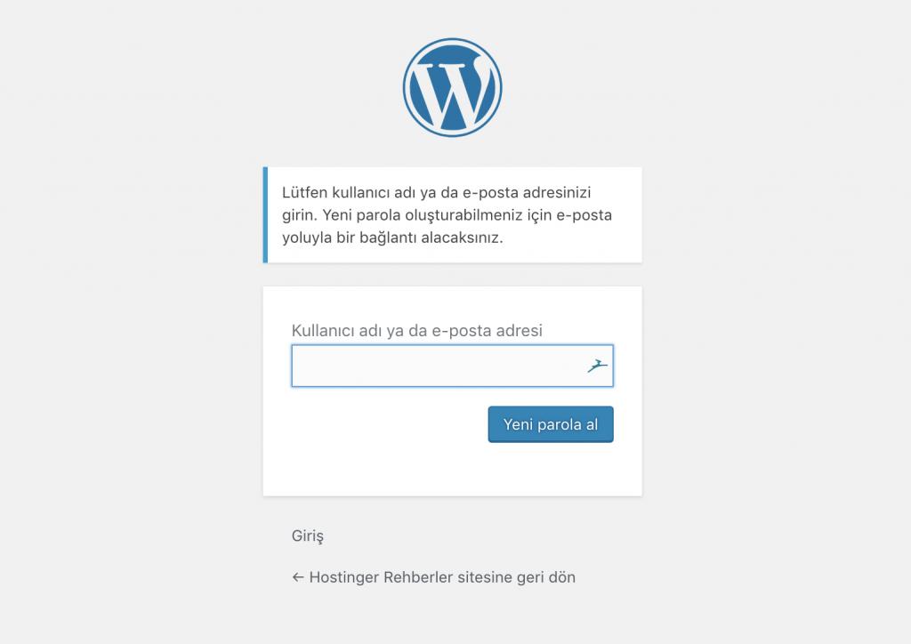 WordPress şifremi unuttum ekranı görünümü