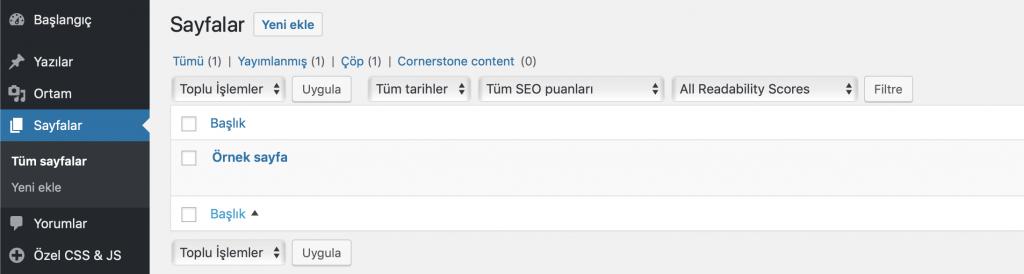 WordPress sayfalar bölümü görünümü