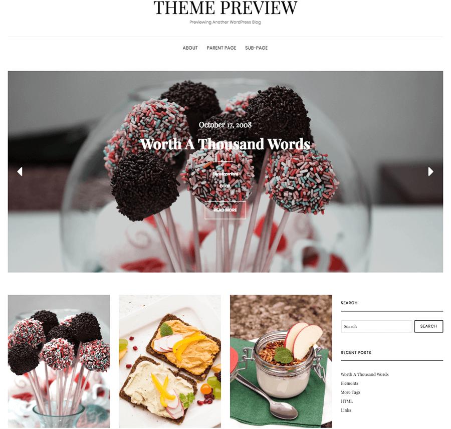 WordPress yemek blogu teması örneği