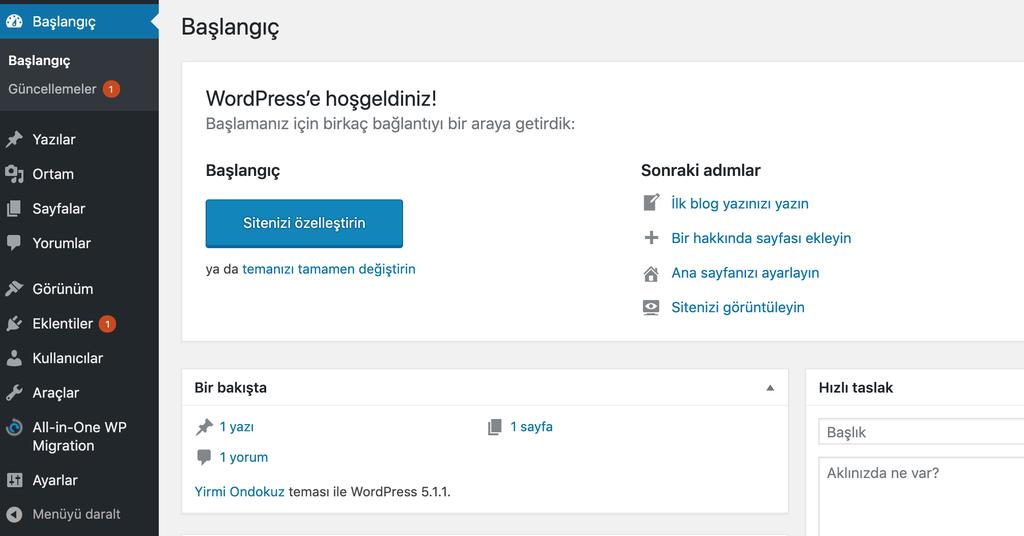 WordPress kontrol paneli.