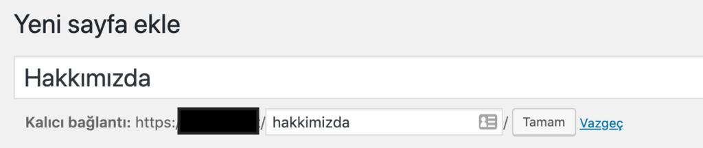 WordPress'de sayfa slugı ayarlama.