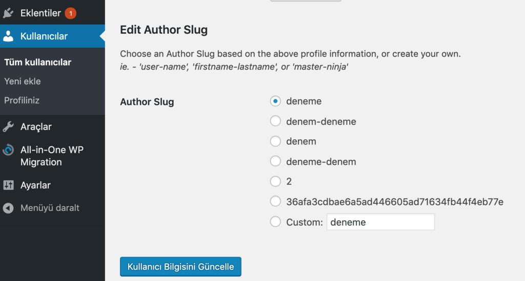 WordPress'de yazar slugı ayarlamak.