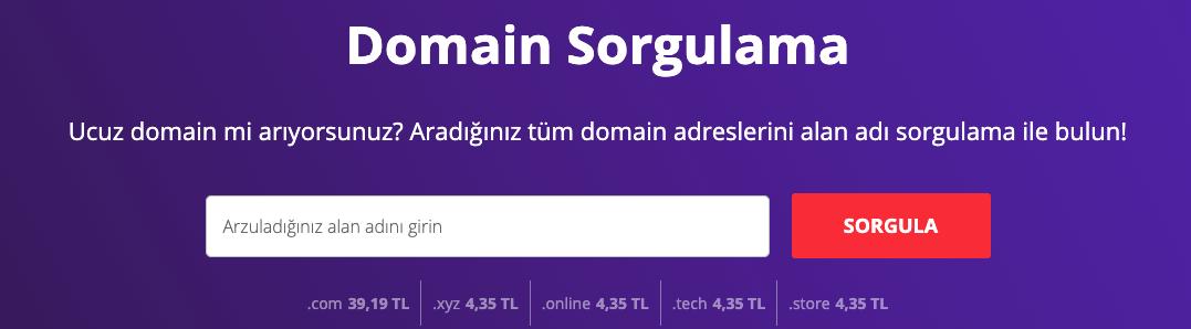Domain sorgulama aracını kullanarak yeni bir domain adı kaydetme.