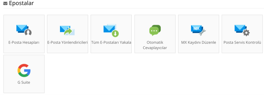 E posta yönetme araçları bütün web hosting planlarında bulunur.