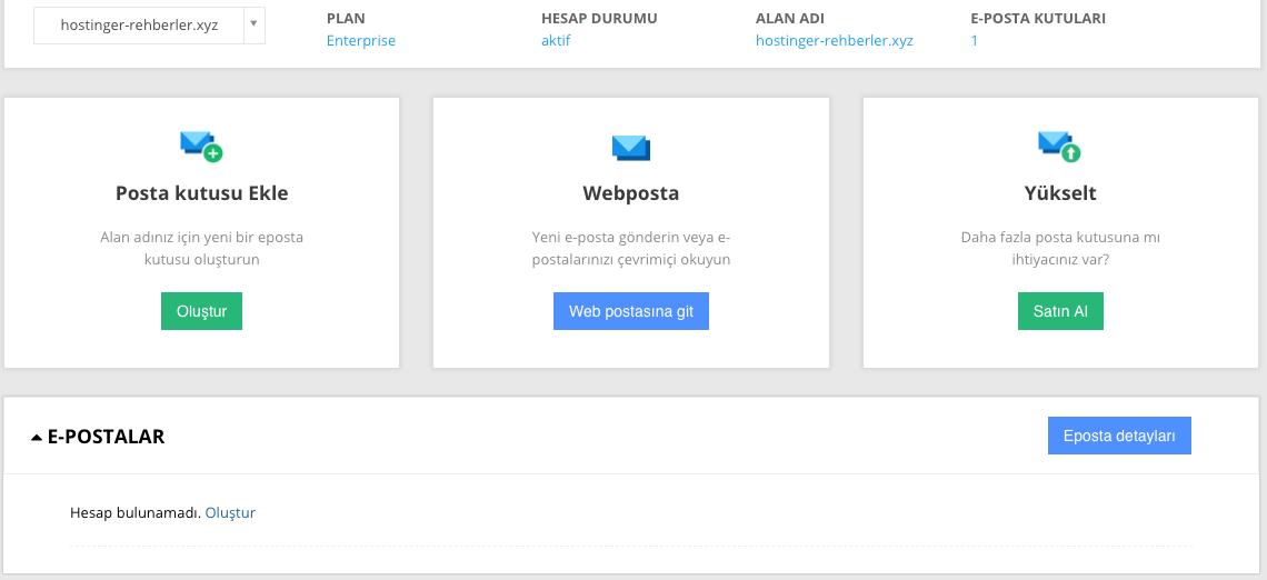 Enterprise email eposta paneli