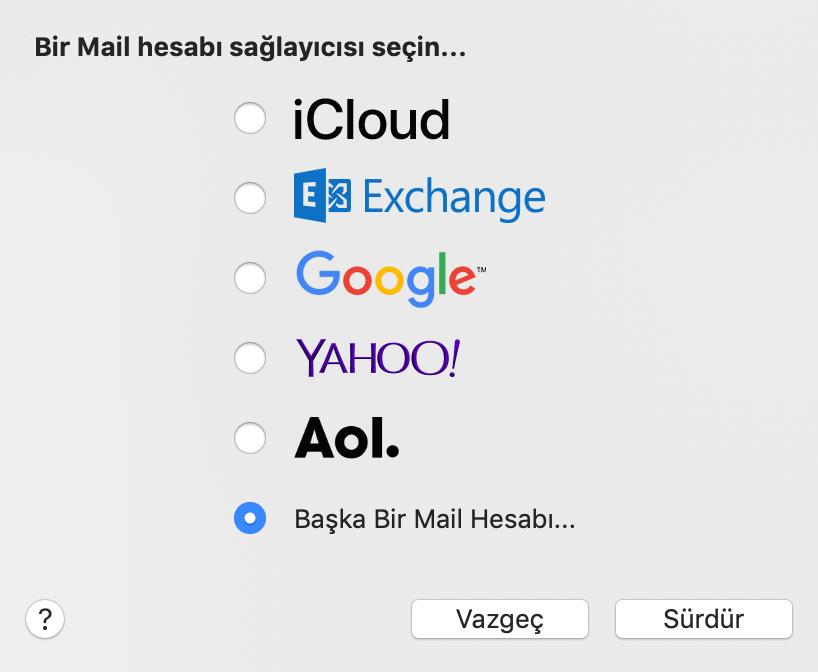 Mac Mail'de bir posta hesabı sağlayısı seçme.