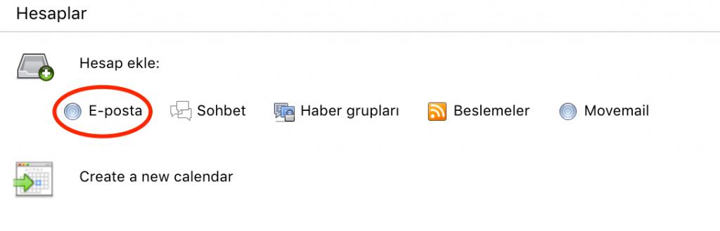 Thunderbird posta istemcisine yeni bir hesap ekleme.