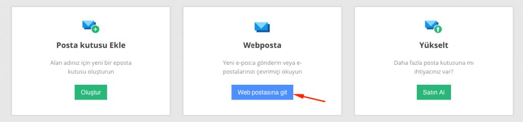 Webmail arayüzüne erişme.