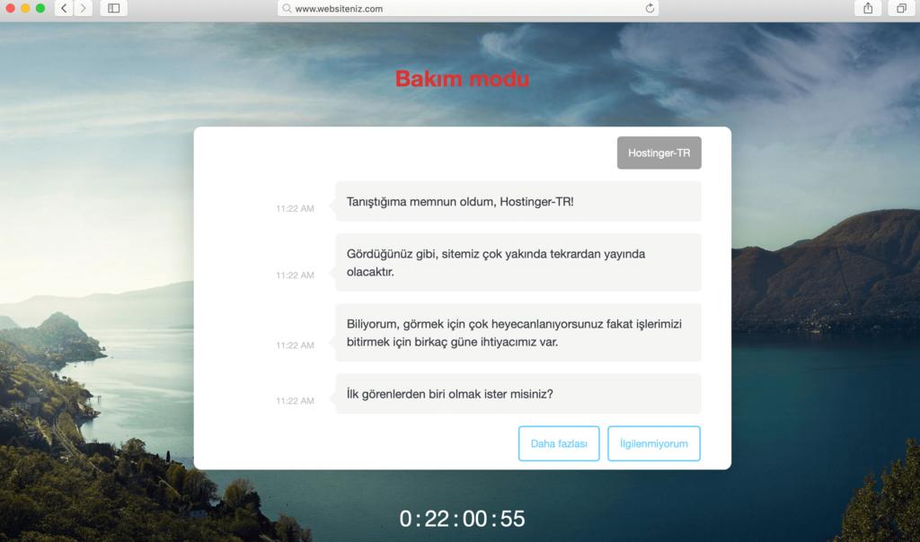 WordPress bakım modu aktif edildiğindeki ekran görüntüsü.