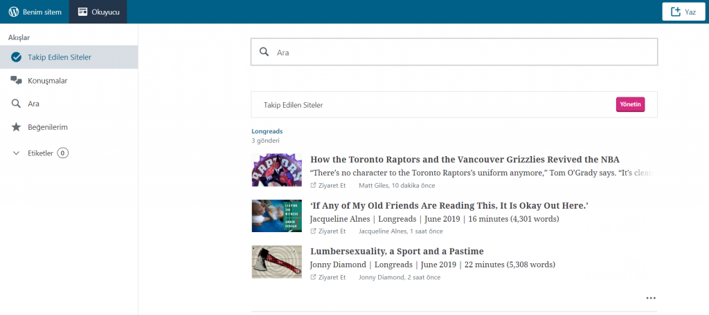 WordPress RSS okuyucunun iç kısmı.